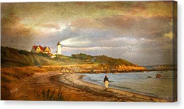 Cape Cod Canvas Print - Solitude At Nobska Light by Michael Petrizzo