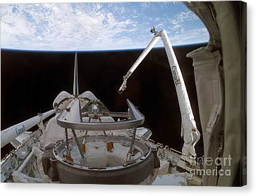 Space Shuttle Discoverys Payload Bay Canvas Print by Stocktrek Images