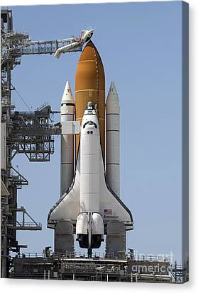Space Shuttle Endeavour Sits Ready Canvas Print by Stocktrek Images