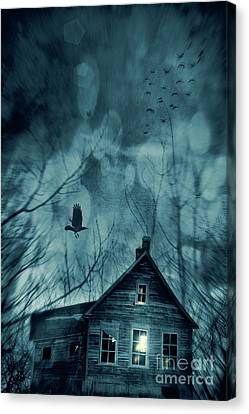 Spooky House At Sunset  Canvas Print