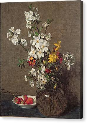 Spring Bouquet Canvas Print by Ignace Henri Jean Fantin-Latour
