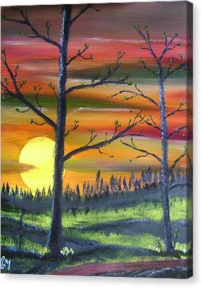 Canvas Print featuring the painting Spring Sunrise by Charles and Melisa Morrison