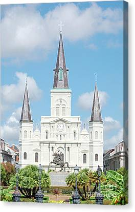 St Louis Cathedral Rising Above Palms Jackson Square New Orleans Accented Edges Digital Art Canvas Print by Shawn O'Brien