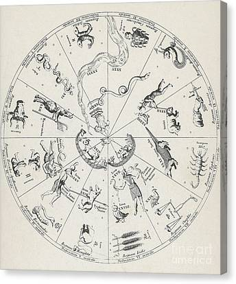 Star Map From Kirchers Oedipus Canvas Print by Science Source