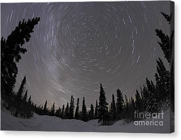 Star Trails And Milky Way Canvas Print by Yuichi Takasaka