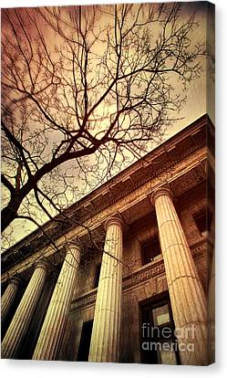 Stark Facade Of Justice Courthouse From Low Angel View  Canvas Print by Sandra Cunningham