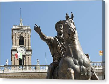 Statue Of Marcus Aurelius On Capitoline Hill Rome Lazio Italy Canvas Print by Bernard Jaubert