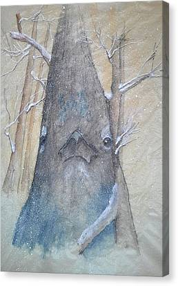 Stellar Jay From Front Canvas Print by Debbi Saccomanno Chan