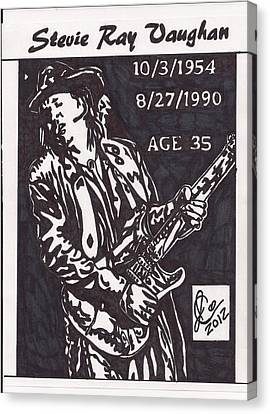 Canvas Print featuring the drawing Stevie Ray Vaughn by Jeremiah Colley