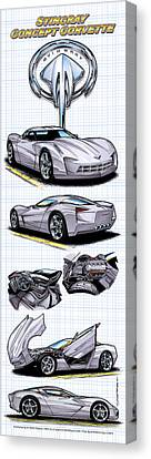 Canvas Print featuring the drawing Stingray Concept Corvette by K Scott Teeters