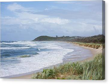 Storm Swell Waves On A Beach Canvas Print by David Freund