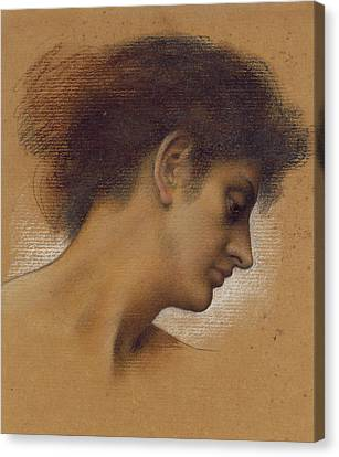 Study Of A Head Canvas Print by Evelyn De Morgan