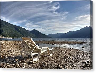 Sun Chair On Lake Maggiore Canvas Print by Joana Kruse