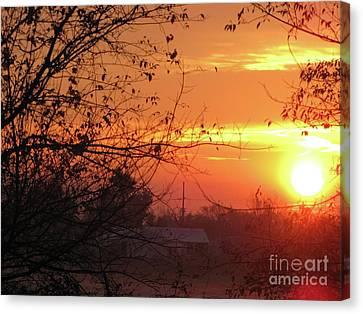 Sunrise Over Rural Homestead Canvas Print by Cedric Hampton