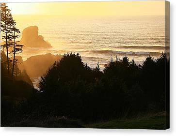 Sunset At Ecola Point Canvas Print by Steven A Bash