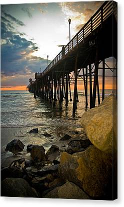 Sunset At Oceanside Pier Canvas Print by Mickey Clausen