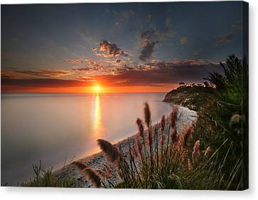 Sunset At Swamis Beach 2 Canvas Print by Larry Marshall