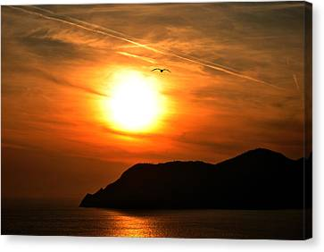 Sunset In The Village Corniglia Canvas Print by Neha Singh