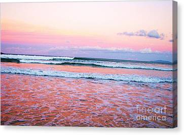 Sunset In The Waves Canvas Print by Michele Penner