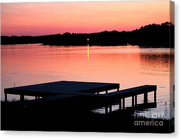 Canvas Print featuring the photograph Sunset View From Dockside by Kathy  White
