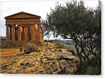 Temple Of Concordia Canvas Print by Steve Bisgrove