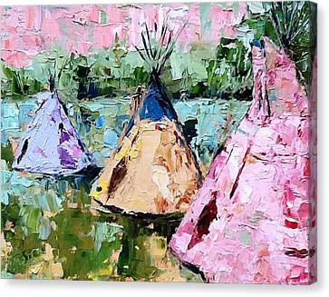 Tepees Times Three Canvas Print