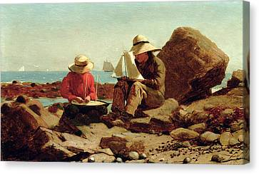Toy Boat Canvas Print - The Boat Builders by Winslow Homer