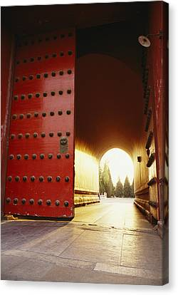 The Giant Red Doors To The Forbidden Canvas Print by Justin Guariglia