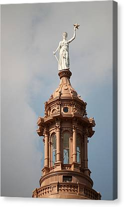 The Goddess Of Liberty In Austin Texas Canvas Print by Sarah Broadmeadow-Thomas