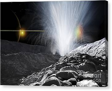 The Ice Fountains Of Enceladus Canvas Print by Ron Miller