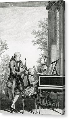 The Mozart Family On Tour, 1763 Canvas Print by Photo Researchers
