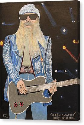 Canvas Print featuring the painting The Tone Master.billy Gibbons. by Ken Zabel