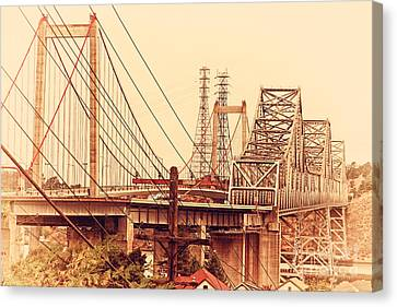 The Two Carquinez Bridges At Crockett And Vallejo California . Aka Alfred Zampa Memorial Bridge . 7d8919 Canvas Print by Wingsdomain Art and Photography