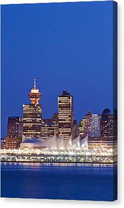 The Vancouver Skyline At Twilight Or Canvas Print by Rob Tilley