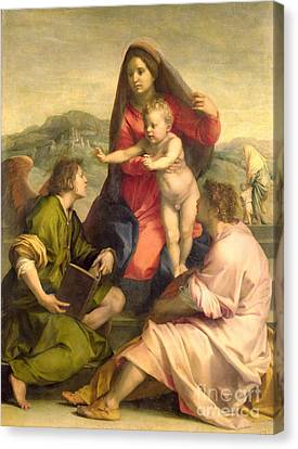 The Virgin And Child With A Saint And An Angel Canvas Print by Andrea del Sarto