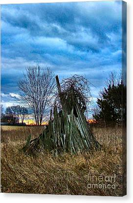 The Woodstack Canvas Print by Julie Dant