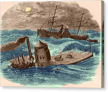 The Wreck Of The Ironclad Monitor, 1862 Canvas Print by Photo Researchers