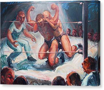 The Wrestling Match In Color Canvas Print by Bill Joseph  Markowski