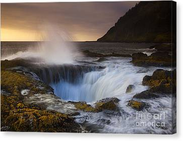 Silk Water Canvas Print - Thor's Well by Keith Kapple