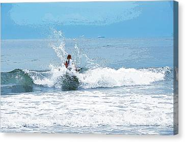 Canvas Print featuring the photograph Through The Wave Blues by Maureen E Ritter