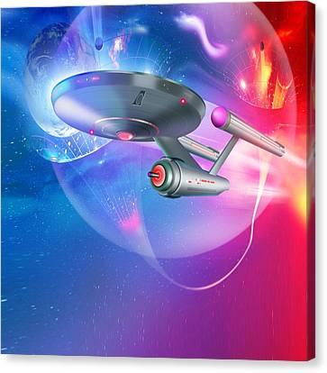 Time Travelling Spacecraft, Artwork Canvas Print by Detlev Van Ravenswaay
