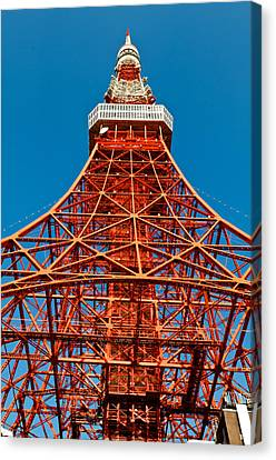 Tokyo Tower Faces Blue Sky Canvas Print by U Schade