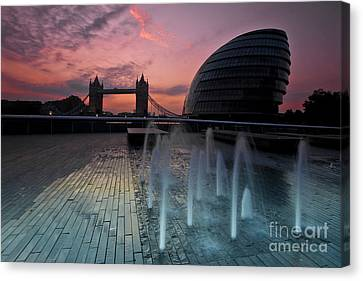 Tower Bridge Sunrise Canvas Print by Donald Davis