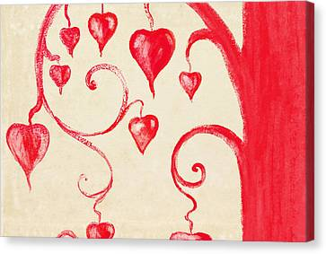 Tree Of Heart Painting On Paper Canvas Print by Setsiri Silapasuwanchai