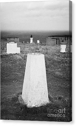 Triangulation Point And Old Weather Station At Dunnet Head Most Northerly Point Of Mainland Britain  Canvas Print by Joe Fox