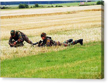 Two Soldiers Of The Belgian Army Canvas Print by Luc De Jaeger