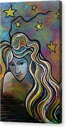 Canvas Print featuring the painting Untitled Girl by Monica Furlow