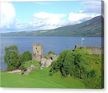 Canvas Print featuring the photograph Urquhart Castle by Charles and Melisa Morrison