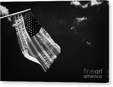 Us American Flag On Flagpole Against Blue Cloudy Sky Usa Canvas Print by Joe Fox