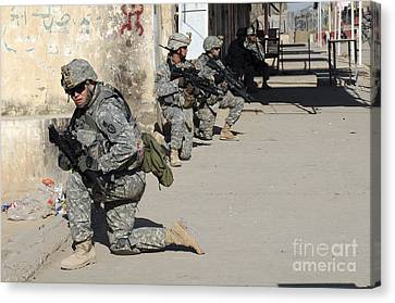 U.s. Army Soldiers Providing Security Canvas Print by Stocktrek Images